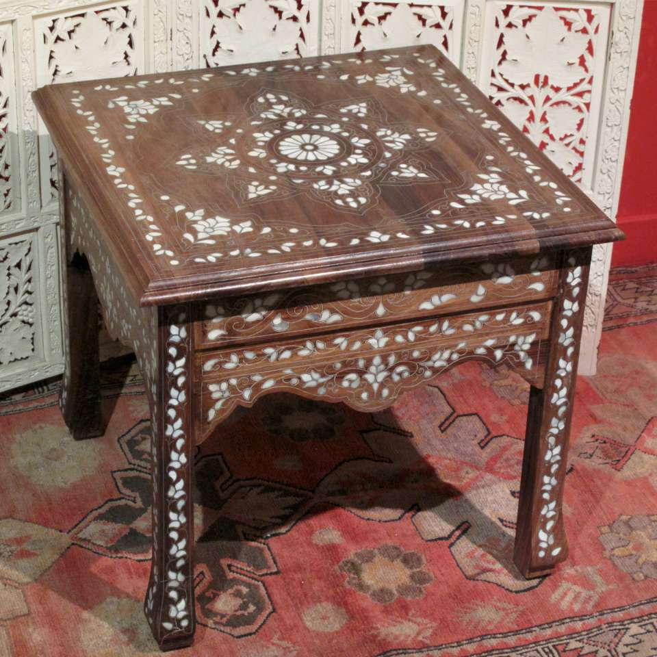 Oriental Side Table Made Of Walnut Wood And Inlaid Mother Pearl