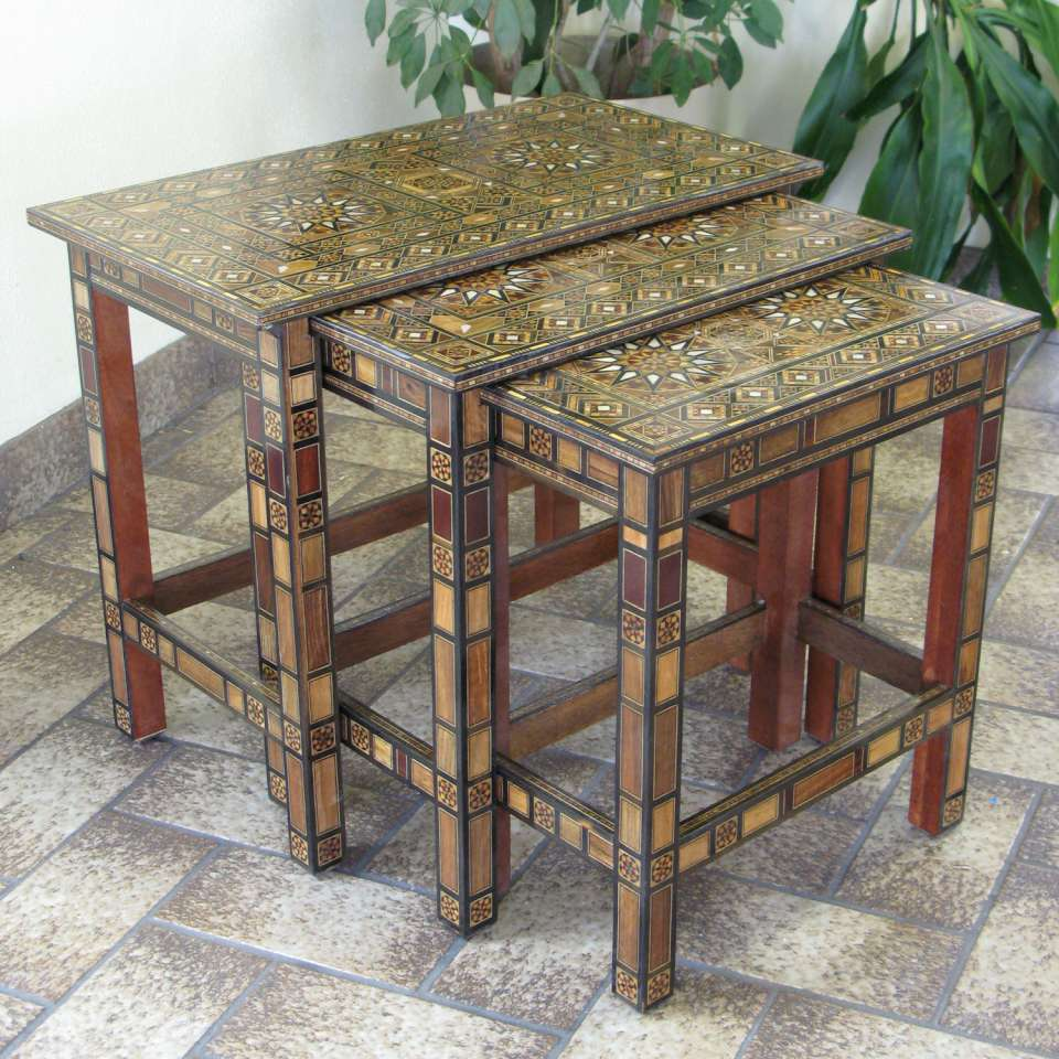 Set of 3 wooden mosaic nesting tables with inlaid mother of pearl set of 3 wooden mosaic nesting tables with inlaid mother of pearl watchthetrailerfo