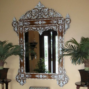 Syrian handcrafted mirror made from walnut wood and mother-of-pearl