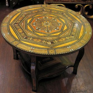 Round coffee table, mosaic design, handcrafted in Damascus