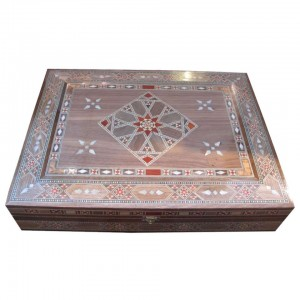Mosaic box made containing rosewood and mother-of-pearl