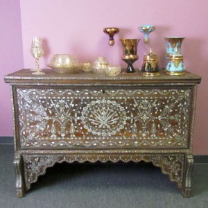 Syrian handmade luxurious wooden console chest