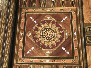 Detail of mosaic design of backgammon table's center