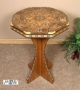 Wooden mosaic side table made in Syria