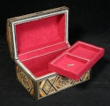 Mosaic Jewelry box covered in red velvet on the inside